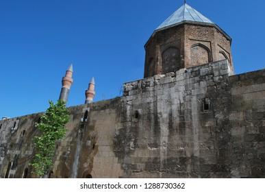 Cifte Minareli Medrese (Double Minaret) in The biggest portal among the other theological schools in Anatolia. It is a 13th-century medrese, an Islamic educational institution. Sivas - Turkey.
