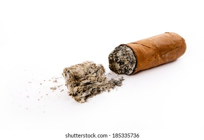 cigar and ashes isolated on white