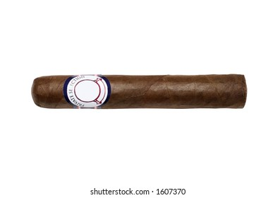 Cigar isolated with a blank label for editing