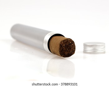 cigar in metal case - isolated