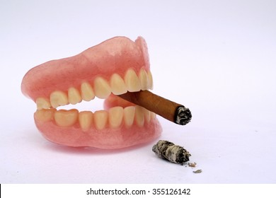 Cigar in mouth as anti smoking concept