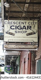 Cigar shop in New Orleans French Quarter - NEW ORLEANS, LOUISIANA - APRIL 18, 2016