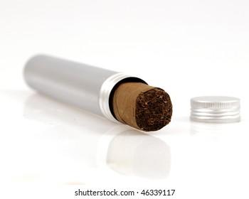 Cigar in silver box