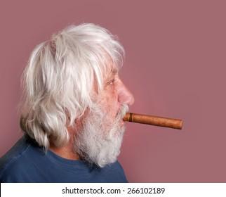 Cigar smoker - neglected old man with beard, long hair and cigar