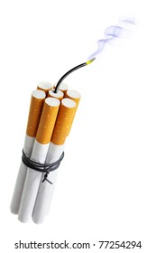 Cigarette bomb isolated over the white background