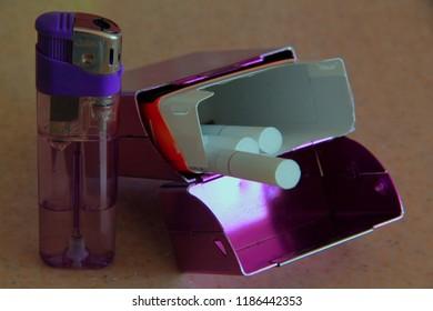 cigarette box and lighter