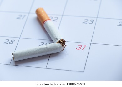 cigarette broken on calendar 31th may for world no tobacco day concept.