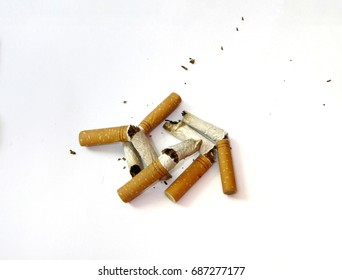Cigarette buds isolated on white