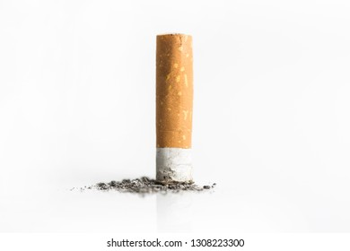 Cigarette butt, close up isolated on a white background