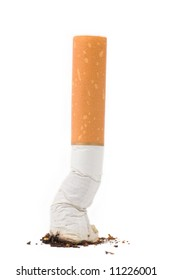 a cigarette butt on white background