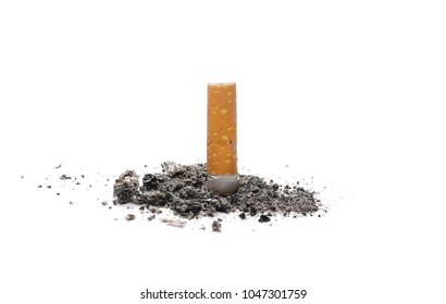 Cigarette butts, stubs isolated on white background