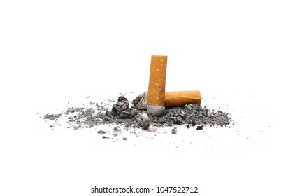 Cigarette butts, stubs isolated on white