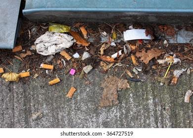 Cigarette butts, trash, leaevs and plastic