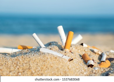 Cigarette butts in yellow sand on sea beach on coast against background of blue sky and sea. Problem of humanity. Cigarette smoking, bad habit. Nicotine addiction. Garbage