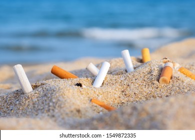 Cigarette butts in yellow sand on a sea beach on coast against background of blue sky and sea. Problem of humanity.  Cigarette smoking, bad habit. Nicotine addiction. Garbage