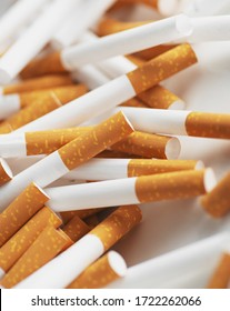 Cigarette filter tubes. Close up of a smoking cigarettes