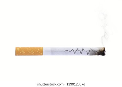Cigarette heartbeat line deadly stop smoking sign
