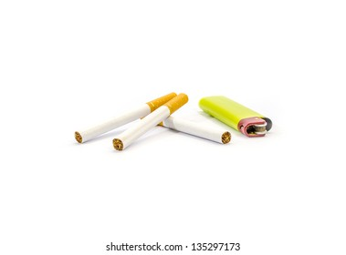 Cigarette with lighter isolated on white