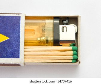 Cigarette lighter and matches in matchbox