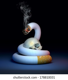 cigarette like a snake with a skull