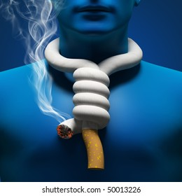 cigarette as a loop on the neck of man