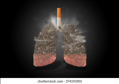 Cigarette, lungs full of ash, concept