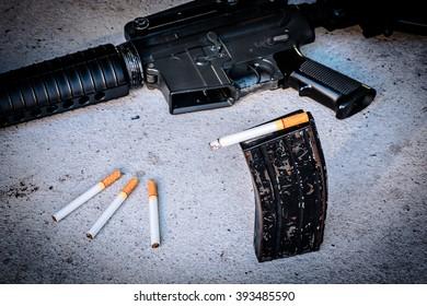cigarette in Magazine gun.Customizable dark tones.Indicate smoking kill you like a gunshot.
