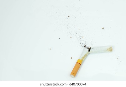 Cigarette on white background Break up the toxins that affect the body.