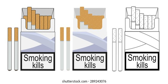 Cigarette pack icons. Color, no outline, linear. Raster clip art illustrations isolated on white