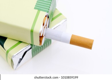 Cigarette packet on a white background