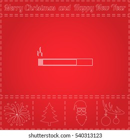 cigarette Simple flat button. Thin line pictogram and bonus outline symbol for New Year - Santa Claus, Xmas Tree, Firework, Balls on deer antlers. Illustration icon