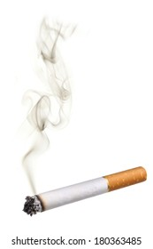 Cigarette with smoke, cutout on white background