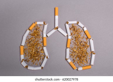 Cigarette smoker's lungs. Cigarettes cause cancer and kill. Gray background
