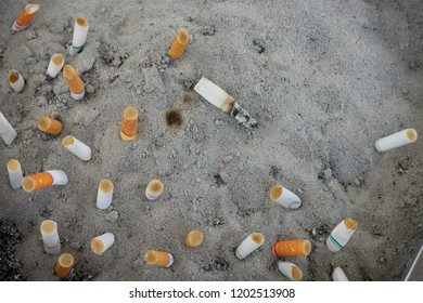 cigarette stubs, cigarette butts in the sand