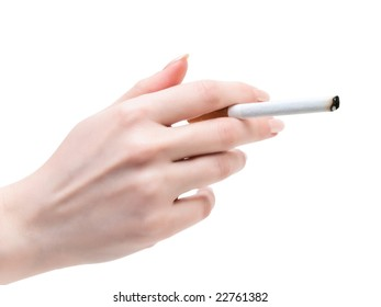 cigarette in the woman hand over the white background