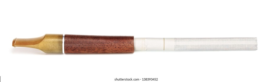 cigarette with a wooden mouthpiece, isolated on white