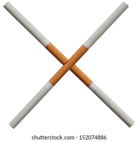 Cigarettes in the form of a cross. Symbol of quitting. The fight against smoking and bad habits. Against smoking.