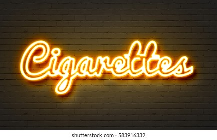 Cigarettes neon sign on brick wall background