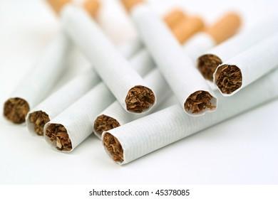 cigarettes on white background
