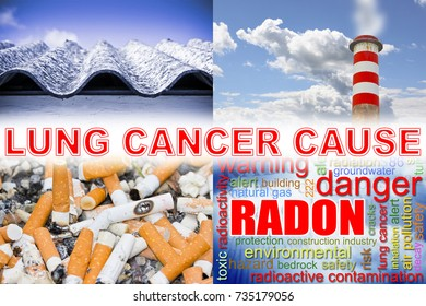 Cigarettes, radon gas, air pollution, asbestos: the main causes of lung cancer - concept image
