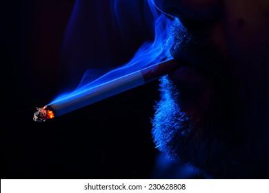 Cigarettes, smoke in various shades