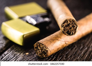 cigars with old zippo lighter, vintage image
