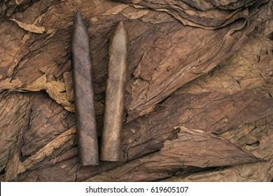 Cigars on dried tobacco leaf background