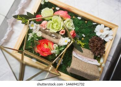 Cilacap, Central Java / Indonesia - November 16 2018: Wedding Hampers, Wedding Ring Box, Pentagram