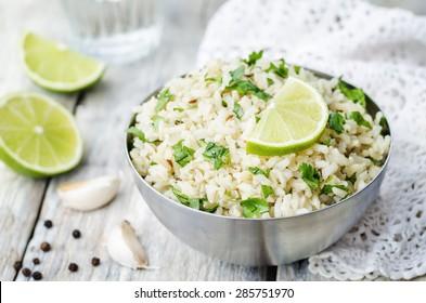 cilantro lime garlic brown rice. the toning. selective focus