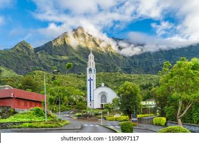 Cilaos town in Cirque de Cilaos, La Reunion island
