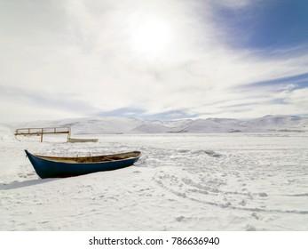 Cildir lake frozen in Kars province, Turkey