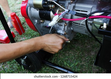Cilegon, Indonesia - 04th 10 2013: Mobile Portable Generator Set for Home Use