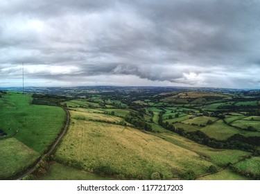 Cilffordd Byway, Near Mold - Aerial views of valleys and walkways in North Wales