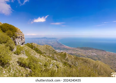 Cima del Redentore (Formia, Italy) - The panoramic peak with religious statue in the Aurunci mountains, over Formia city and Tirreno sea, beside Petrella summit and San Michele Arcangelo hermitage
